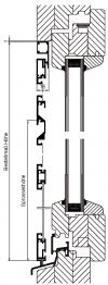 Drehtür K/K plus nach außen öffnend mit 3-seitigem Montagerahmen