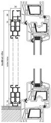 Schiebetür mit Montagerahmen S und U-Laufschiene unten, 2-flügelig